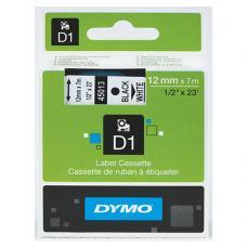 Dymo D1 Yedek Şerit 12 mm x 7 mt Beyaz / Siyah (45013)