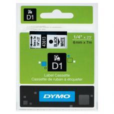 Dymo D1 Yedek Şerit  6 mm x 7 mt Beyaz / Siyah (43613)