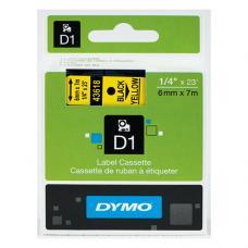 Dymo D1 Yedek Şerit  6 mm x 7 mt Sarı  / Siyah (43618)