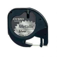 Dymo LetraTag Metalik Şerit 12 mm x 4 mt Gri  (59429)