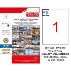 Tanex Laser Etiket TW 2000  210 x 297 mm