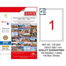 Tanex Laser Etiket TW 2001 199.6 x 289.1 mm