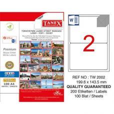Tanex Laser Etiket TW 2002 199.6 x 143.5 mm
