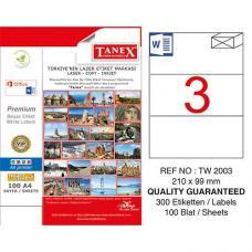 Tanex Laser Etiket TW 2003 210 x 99 mm