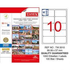 Tanex Laser Etiket TW 2010 99.06 x 57 mm