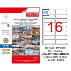 Tanex Laser Etiket TW 2016 99.1 x 34 mm
