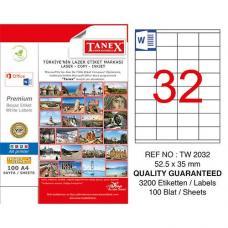 Tanex Laser Etiket TW 2032 52.5 x 35 mm