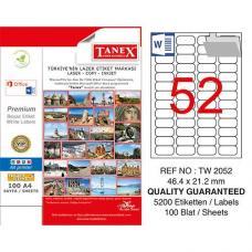 Tanex Laser Etiket TW 2052 46.4 x 21.2 mm