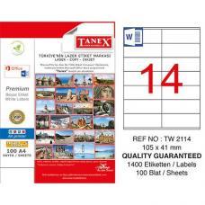 Tanex Laser Etiket TW 2114 105 x 41 mm