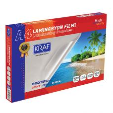 Kraf 2120 Laminasyon Filmi Parlak A4 100 Micron 100 lü