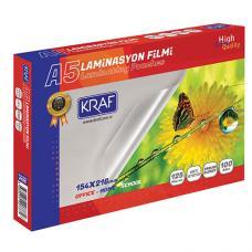 Kraf 2125 Laminasyon Filmi Parlak A5  125 Micron 100 lü